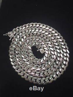 Miami Hand Made Solid Classic Cuban Link Silver 925 Chain 8mm 30 Inches