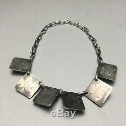 Mid Century Modern DuBois Hand Made Sterling Silver Necklace Chicago School