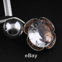 Modern Alton Sterling Silver Neckring w. Rock Crystal. Palmberg. MADE IN SWEDEN