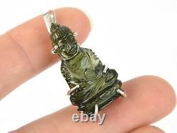 Moldavite pendant 925. Silver BUDDHA hand made carved carving = 5.2g #CARV716