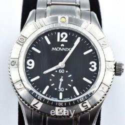 Movado Gentry Swiss Made Sterling Silver Mens Watch Retail $895