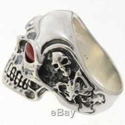 NAVAJO MADE Sterling Silver Skull Biker Mens Ring REAL CORAL Eyes Any Size