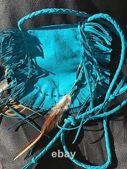 NAVAJO STERLING HAND MADE FRINGED DEERSKIN BAG Phone Case