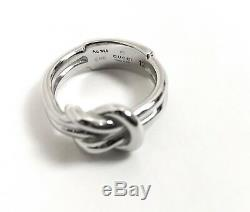NIB Gucci Sterling Silver Piccolo Knot Ring Size 6, Made In Italy