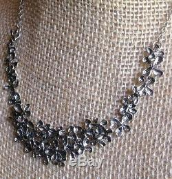 NWOT Or Paz Sterling Silver 925 Flowers Bib Necklace 15 Made in Israel
