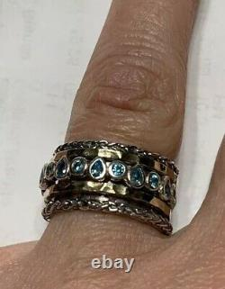 NWT OR PAZ 925 Sterling Silver 14K Gold Blue Topaz Spinner Ring Sz 7 Made Israel