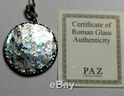 NWT OR PAZ ROMAN GLASS LARGE ROUND PENDANT Sterling Silver 925 Made In Israel