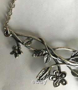 NWT Or Paz Sterling Silver 925 Red Garnet Floral Necklace Made In Israel PZ