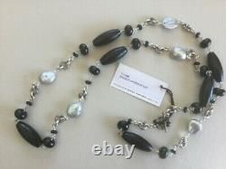 NWT STEPHEN DWECK Made In USA Sterling Silver Black Agate And Pearl Necklace