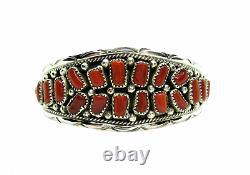 Native American Made Sterling Silver 20 stone Coral Anita Whitegoat Bracelet