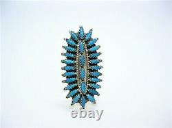 Native American Made Sterling Silver Blue Turquoise Cluster Ring Size 7 1/2
