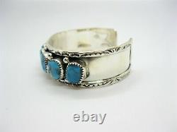 Native American Made Sterling Silver Bright Blue Turquoise Nugget Cuff Bracelet