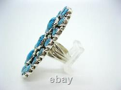 Native American Made Sterling Silver Huge Turquoise Nugget Adjustable Ring