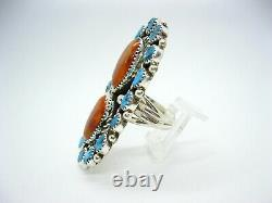 Native American Made Sterling Silver Huge Turquoise & Spiny Adjustable Ring
