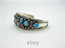 Native American Made Sterling Silver Turquoise Nugget & Coral Cuff Bracelet