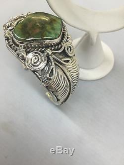 Native American Navajo Hand Made Sterling Silver Cuff Bracelet Royston Turquoise