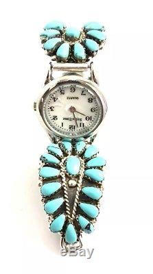 Native American Sterling Silver Hand Made Cluster Turquoise Ladies Watch