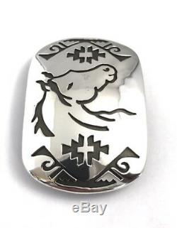 Native American Sterling Silver Hand Made Horse Design Belt Buckle