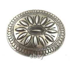 Native American Sterling Silver Hand Made Old Look Stamp Belt Buckle
