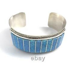 Native American Sterling Silver Hand Made Zuni Blue Opal Cuff Bracelet