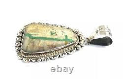 Native American Sterling Silver Navajo Hand Made Boulder Turquoise Pendant
