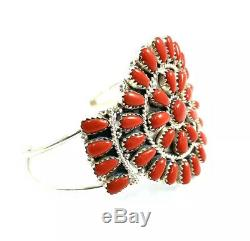 Native American Sterling Silver Navajo Hand Made Coral Cluster Cuff Bracelet