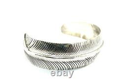 Native American Sterling Silver Navajo Hand Made Feather Design Cuff Bracelet