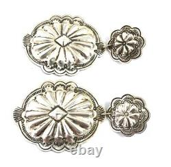 Native American Sterling Silver Navajo Hand Made Old Look Stamp Earring