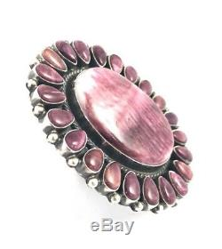 Native American Sterling Silver Navajo Hand Made Spiny Oyster Ring Size 8.5