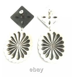 Native American Sterling Silver Navajo Hand Made Stamp Old Look Earring