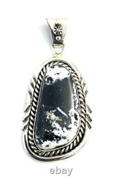 Native American Sterling Silver Navajo Hand Made White Buffalo Pendant