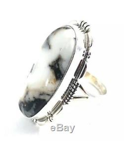 Native American Sterling Silver Navajo Hand Made White Buffalo Ring Size 8.5