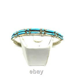 Native American Zuni Hand Made Sterling Silver Turquoise Cuff Bracelet