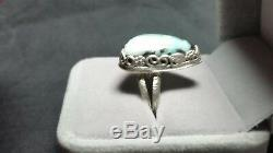 Natural Boulder Opal Ring (925 Sterling Silver) Size 9 Hand Made