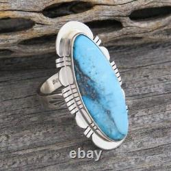 Navajo Kingman Turquoise Sterling Silver Ring Size 9 Native American Made in USA