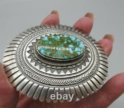 Navajo LEON MARTINEZ-Impeccably Made-Kingman Turquoise 925 Concho Belt Buckle