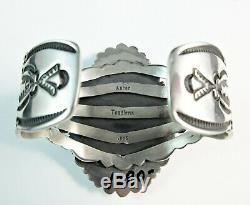 Navajo Made-AARON TOADLENA-HUGE-Lapis-Traditional Navajo 925 Cuff-6-3/4 Wrist