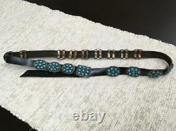 Navajo Made Concho Leather and Turquoise Belt Sterling Silver Hardware