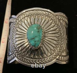 Navajo Made Turquoise Stamped Sterling Silver Bracelet