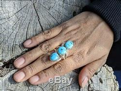 Navajo Ring Turquoise Silver Hand Made Native American Jewelry sz 10 1/2