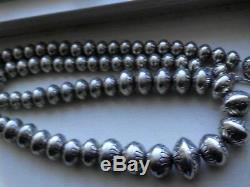 Navajo Stamped Bench Bead Pearl Beautifully Made Necklace 32 Long 192 Grms