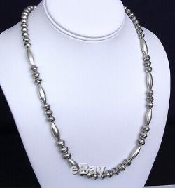 Navajo Sterling Beads Necklace 25 Inch Length Hand Made TOP OF THE LINE pearls