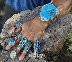Navajo Turquoise Bracelet Sterling Silver Hand Made Native American Jewelry