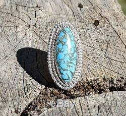Navajo Turquoise Ring Silver Hand Made Native American Jewelry Matrix sz 9 1/2