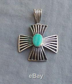 New Signed Native American Made Sterling Silver Cross Pendant