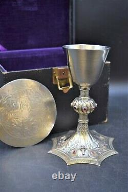 + Nice Antique Sterling Silver Celtic Chalice and Paten Made in England (CU594)