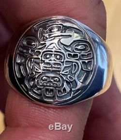 Northwest Coast Sterling Silver Raven Ring Custom Made size 12