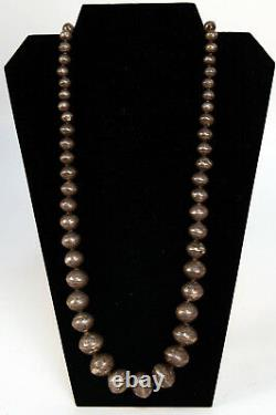 OLD Navajo Sterling Silver Graduated Bead Necklace 30 Hand-made beads + designs