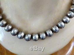 Old Pawn Hand Made Etched Design Navajo Native American Sterling Beaded Necklace