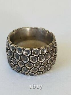 Old Pawn Navajo Hand Made Sterling Silver Wide Chunky Band Ring Size 8